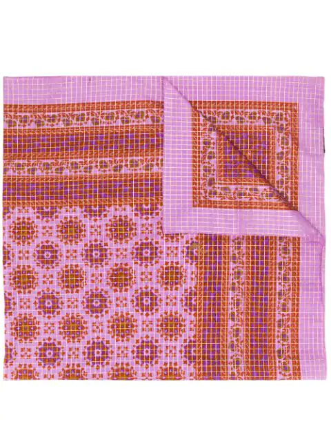Saint Laurent Check And Paisley Print Shawl In Pink