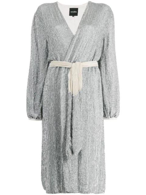 Retroféte Sequin Wrap Dress In Silver