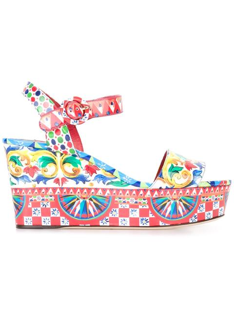 Dolce & Gabbana Patent Leather Wedge Sandals In Multicolour
