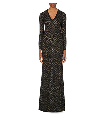 Roberto Cavalli Leopard-Knit Stretch-Knit Gown In Gold