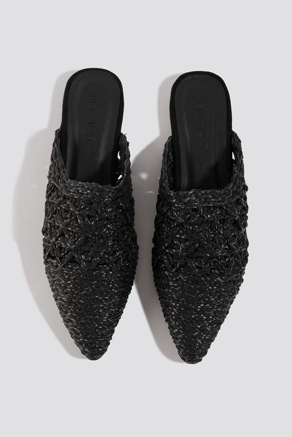 Na-kd Pointy Strawy Sandals Black