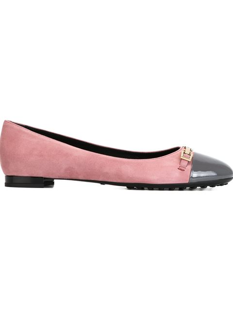 Tod's Contrasted Toe Cap Ballerinas In Pink