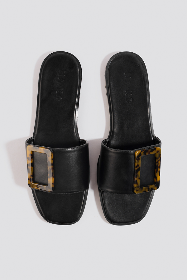 Na-kd Big Buckle Flats Black