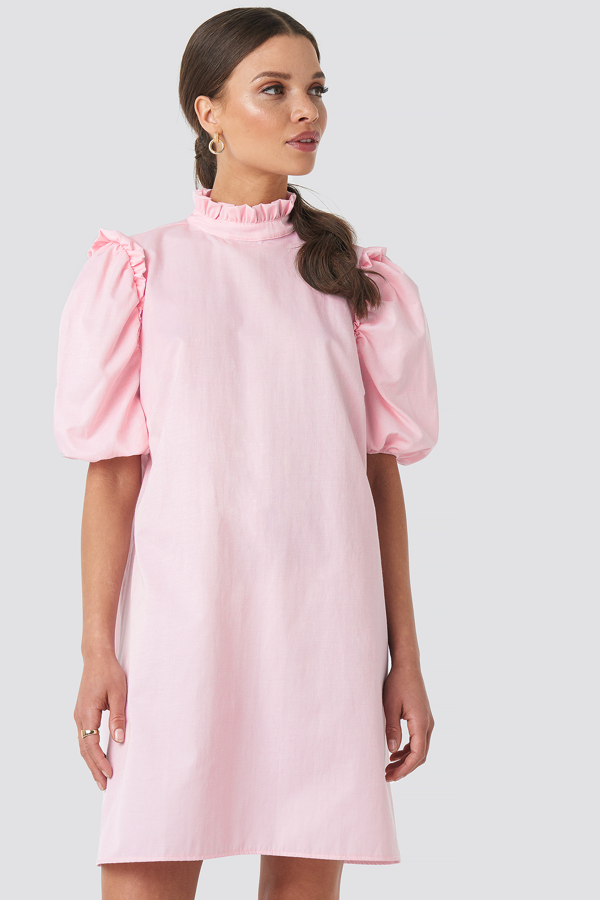 Emilie Briting X Na-kd Puff Sleeve Mini Dress - Pink