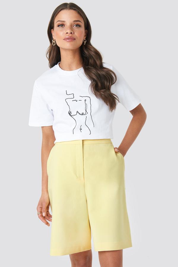 Emilie Briting X Na-kd Mid Length Shorts Yellow
