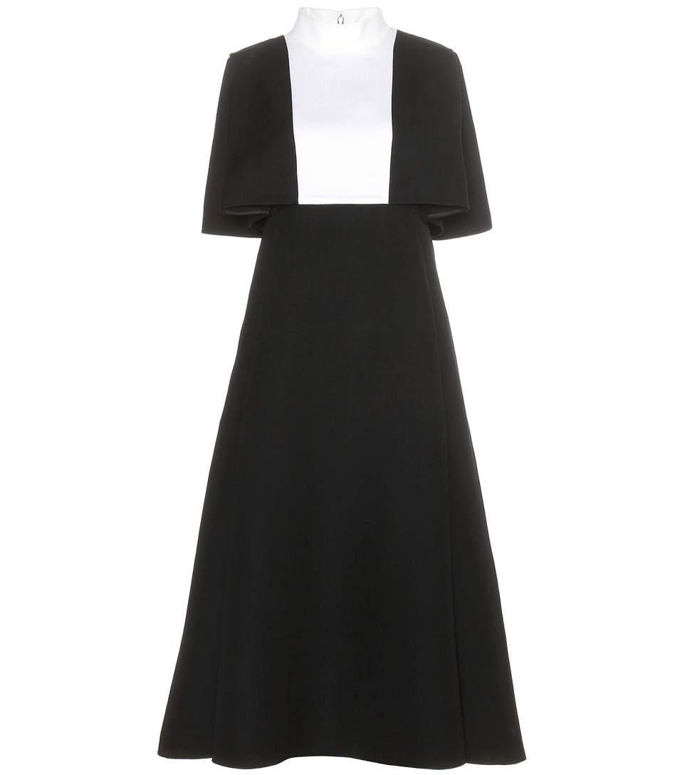 Valentino Contrast-Panel Wool-Crepe Dress In Black