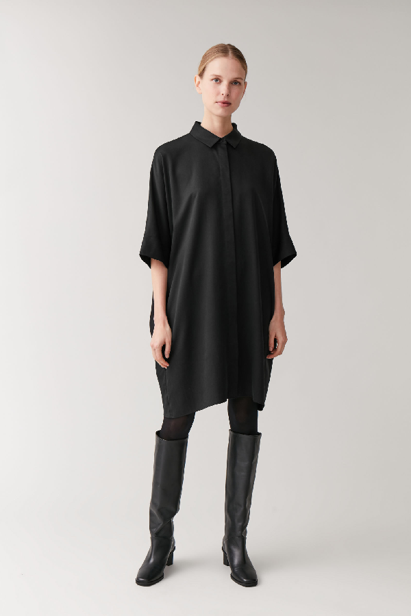 Cos Draped Boxy Shirt Dress In Black
