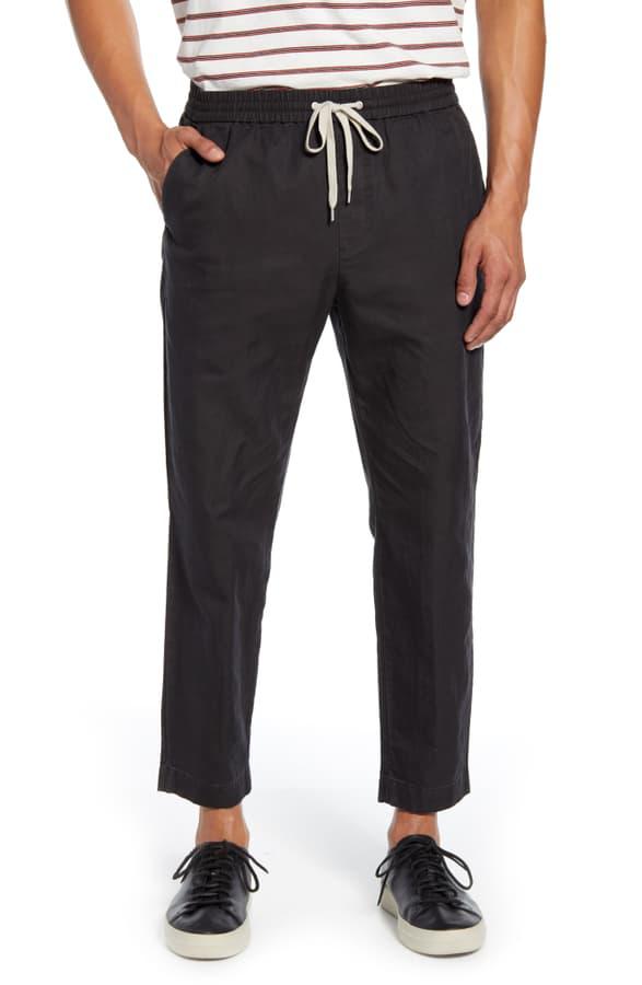 Allsaints Luckett Straight Leg Cotton & Linen Pants In Washed Black