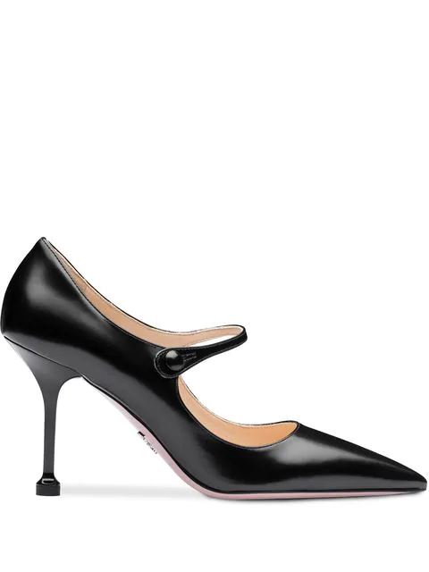 Prada Black Polished Leather Mary Jane Pumps