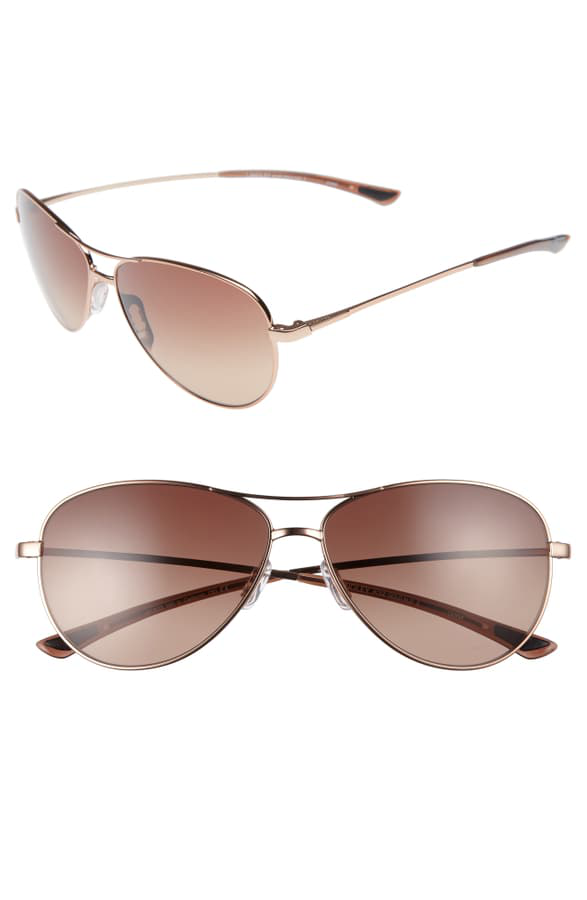 Smith Langley 60mm Chromapop(tm) Aviator Sunglasses In Rose Gold/ Sienna