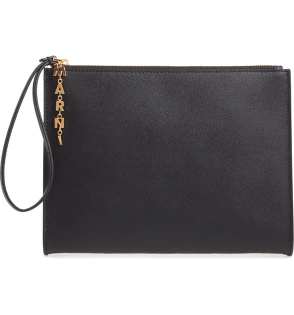 Marni Saffiano Leather Pochette - Black In Black/ Wine