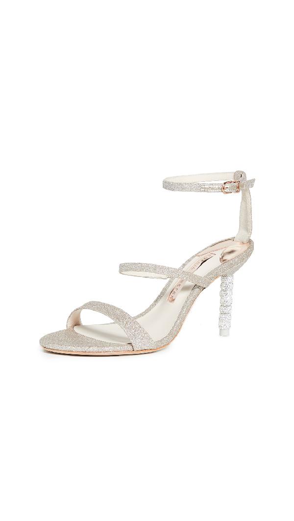Sophia Webster Rosalind Embellished-Heel Glitter Sandals In Champagne Glitter