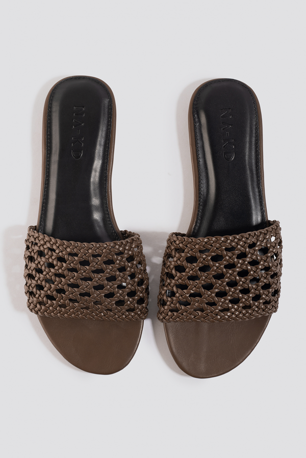 Na-kd Braided Slip In Sandals - Brown