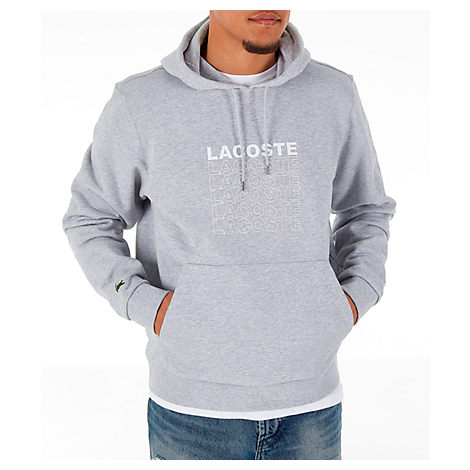 Lacoste Long-Sleeve French Terry Graphic Hooded Sweatshirt In Grey