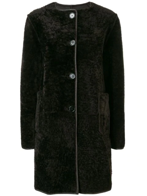 Marni Reversible Shearling & Leather Button Coat In Brown
