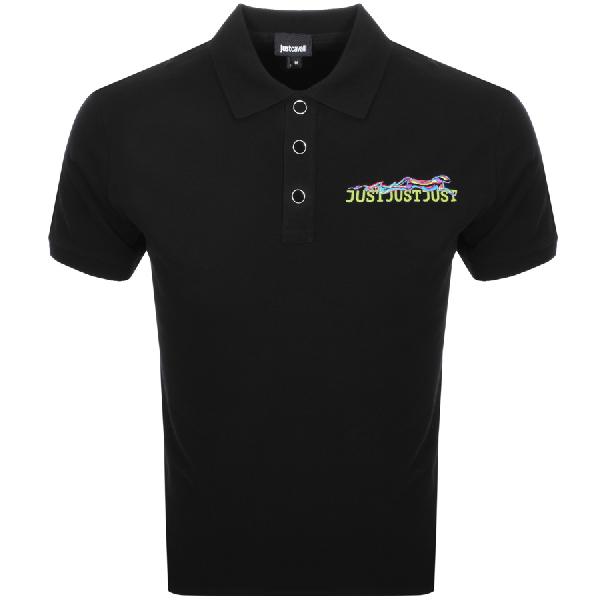 Just Cavalli Men's Logo & X-ray Cheetah Graphic Polo Shirt In Black