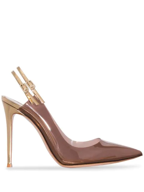 Gianvito Rossi Double Slingback 105mm Pumps In Brown