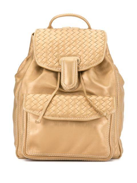 Bottega Veneta Intrecciato Weave Backpack In Gold