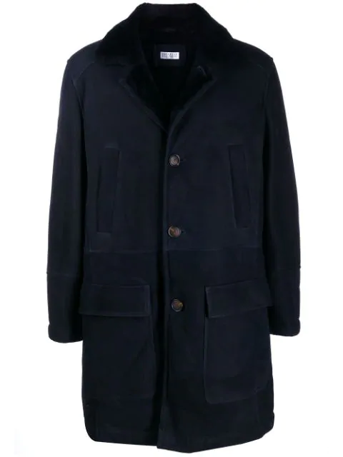 Brunello Cucinelli Shearling Coat In Blue