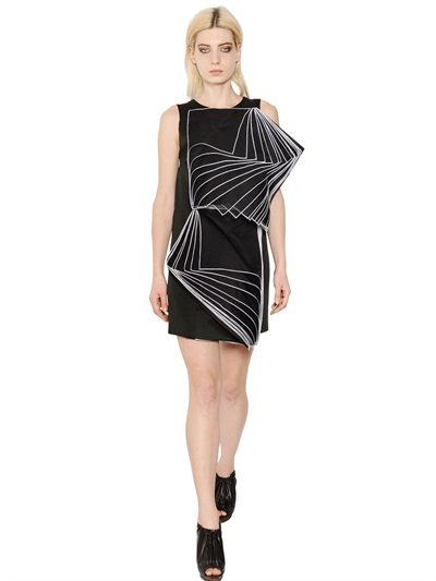 Christopher Kane Viscose Organza And Crepe Duchesse Dress In Black