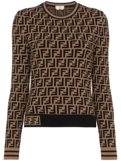 Fendi Ff Patterned Viscose Tight Sweater In Brown