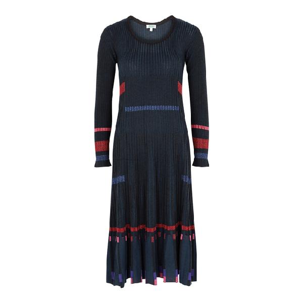 Kenzo Rib Long Sleeve Midi Sweater Dress In Black