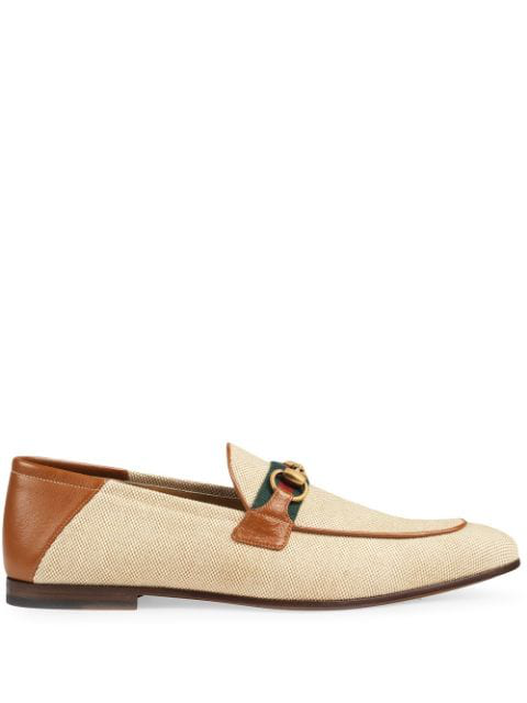 Gucci Brixton Webbing-Trimmed Horsebit Collapsible-Heel Canvas And Leather Loafers In Neutrals
