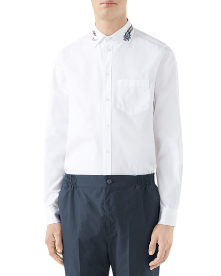 Gucci Men's Embroidered-collar Pinpoint Sport Shirt In White