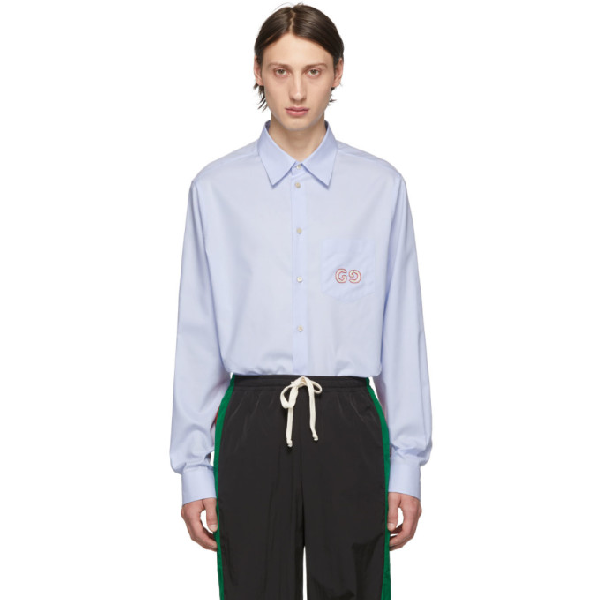 Gucci Men's Logo-Embroidered Oxford Shirt In 4850 Blue
