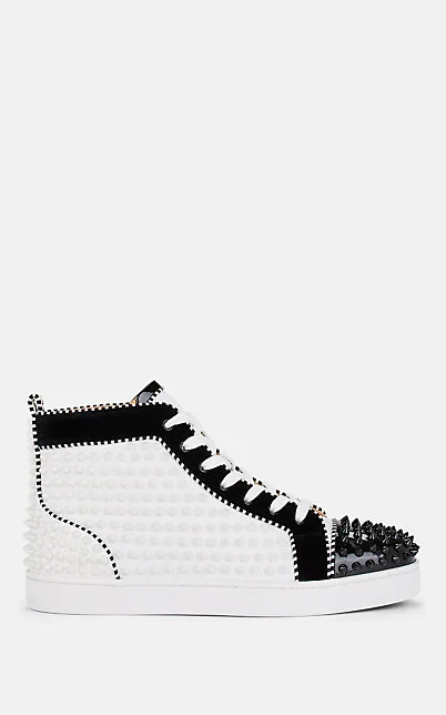 Christian Louboutin Men's Louis Spikes 2 Leather High-Top Sneaker In White