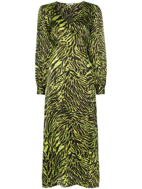 Ganni V-neck Bishop-sleeve Animal-print Stretch-silk Midi Dress In Black