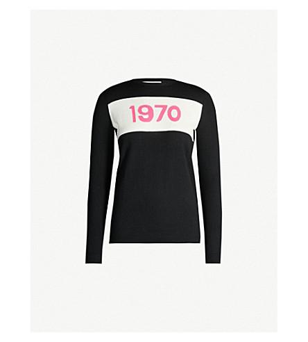 Bella Freud Logo-intarsia Round-neck Wool Jumper In Black Pink