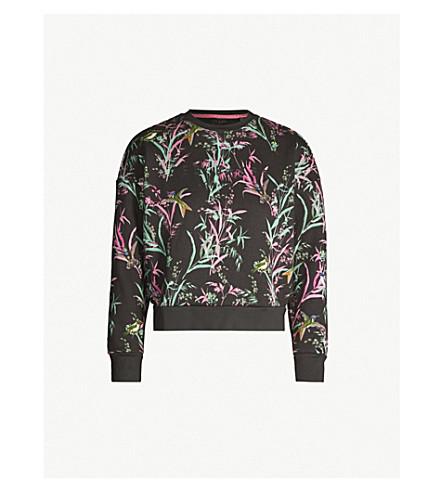 Ted Baker Vencia Floral-Print Cotton-Blend Sweatshirt In Black