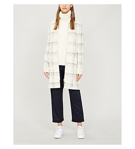 Ted Baker Checked Woven Coat In White