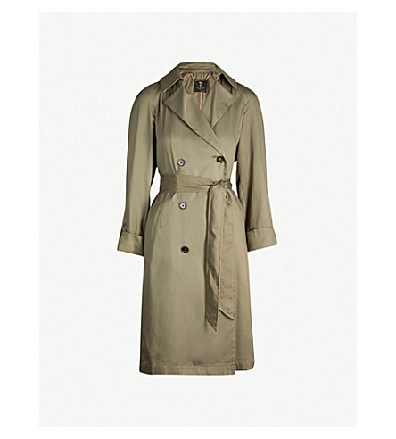 Ted Baker Maccs Double-Breasted Woven Trench Coat In Khaki