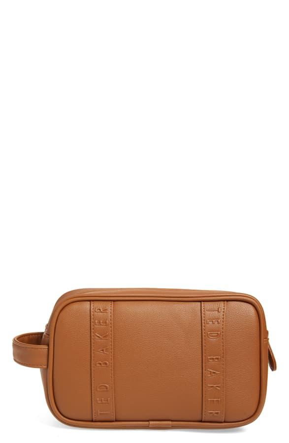 Ted Baker Vanes Faux Leather Dopp Kit In Tan