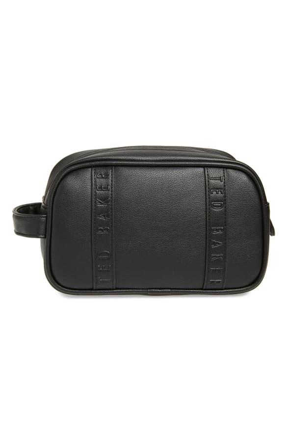 Ted Baker Vanes Faux Leather Dopp Kit In Black