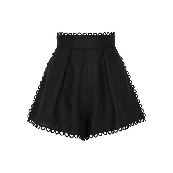 Zimmermann Allia Black Linen Shorts