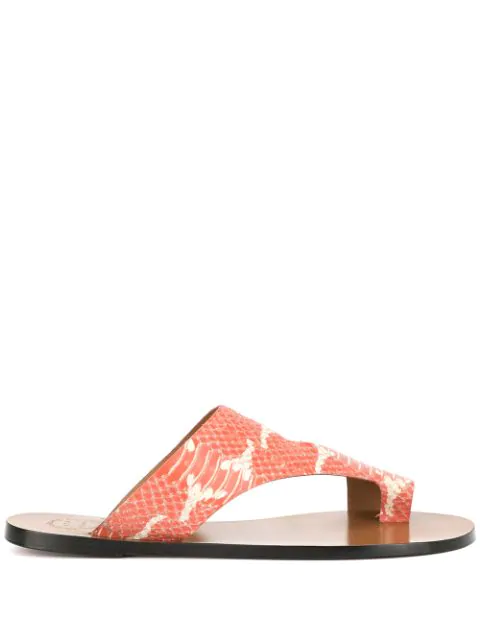 Atp Atelier Roma Python-Effect Leather Sandals In Orange