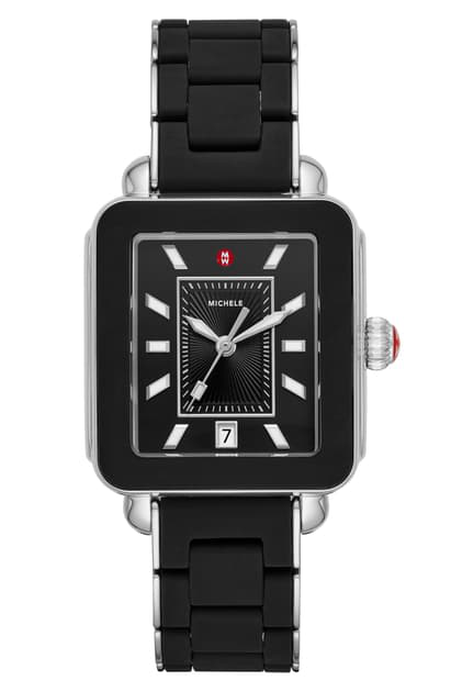 Michele Wrapped Deco Sport Watch, 34mm X 36mm - 100% Exclusive In Black/ Silver