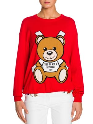 d9591af240e Moschino Bear Intarsia Cotton Knit Sweater Dress In Red