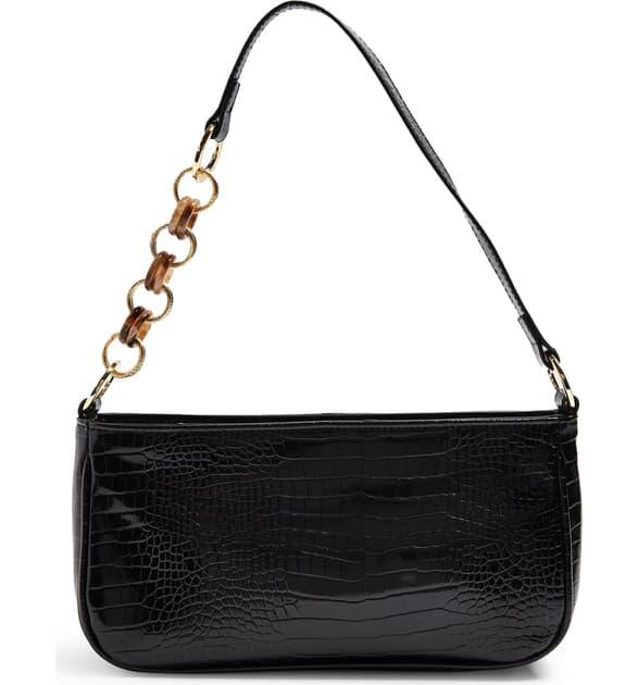 Topshop Spin Snake Print Shoulder Handbag In Black