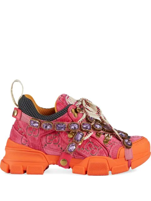 Gucci Women's Flashtrek Sneaker With Crystals In Pink