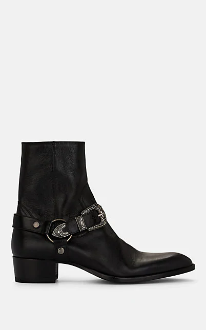 Saint Laurent Wyatt Western-Buckle Leather Boots In Black