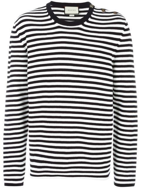 d8a92ce7ef9 Gucci Striped Cotton Crew Neck Sweater In Bianco Blu