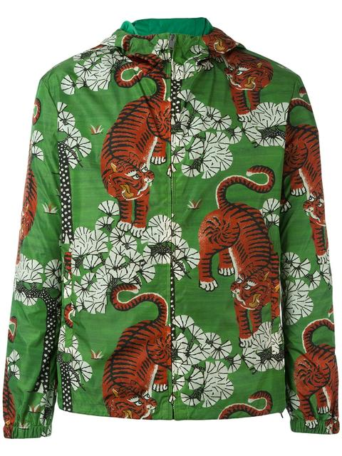 7245e58a6bde Gucci Bengal Print Hooded Jacket In Blue   ModeSens