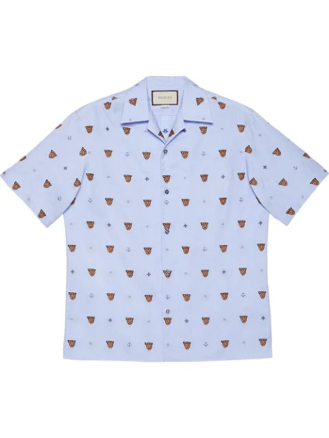 Gucci Tiger Head And Symbols Fil CoupÉ Shirt In 4159 Light Blue