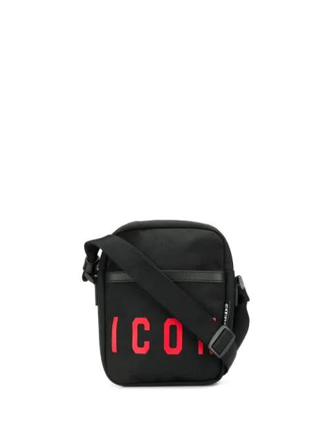 Dsquared2 Icon Print Messenger Bag In Black