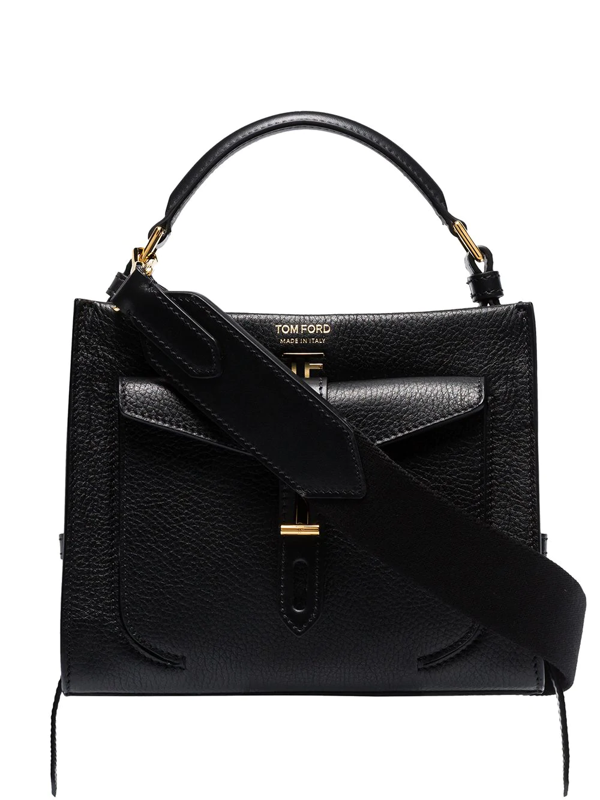 Tom Ford T Twist Medium Textured-leather Shoulder Bag In Black