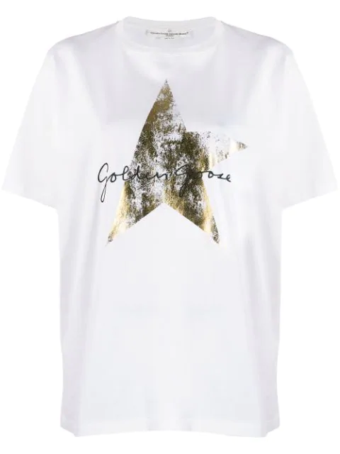 Golden Goose Faded Star Print T-shirt In White